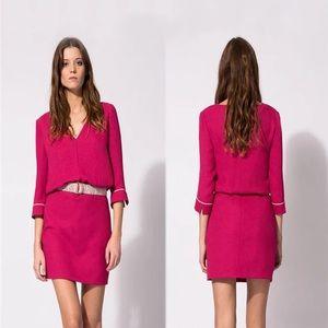 maje rose red chiffon dress v neck elegant